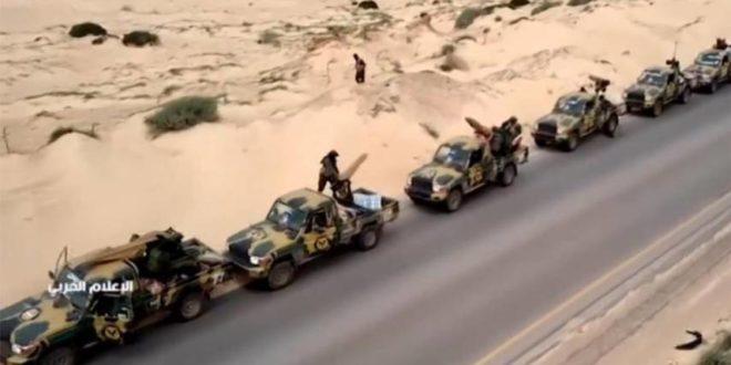 قوات حفتر أثناء توجهها للهجوم على طرابلس