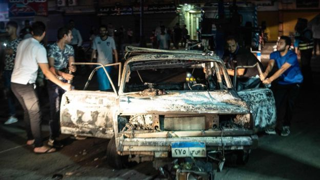 جانب من أضرار الانفجار في وسط القاهرة