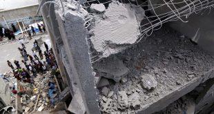 المباني المتضررة بعد قيام التحالف العسكري بقيادة السعودية بشن غارات جوية في صنعاء في 16 مايو 2019