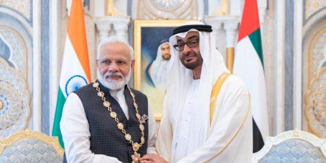 تكريم ولي عهد أبوظبي محمد بن زايد لرئيس وزراء الهند بعد إجراءاته القمعية في كشمير