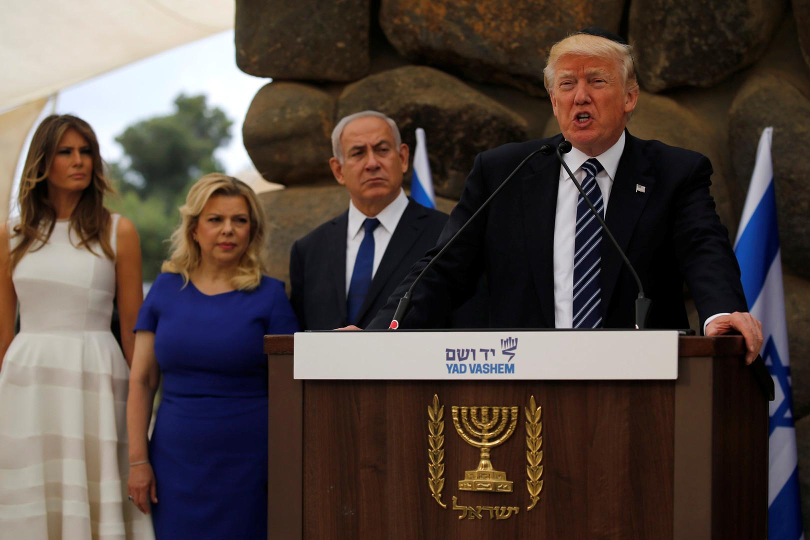 """صورة ترامب يعلن عن """"صفقة القرن"""" لتصفية القضية الفلسطينية بحضور الإمارات والبحرين"""