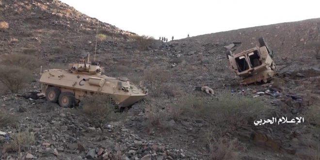 آليات عسكرية سعودية دُمرت في الهجوم الحوثي على نجران