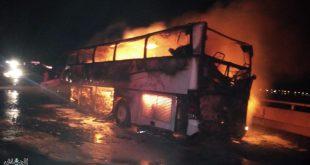 حافلة المعتمرين التي احترقت جراء حادث في المدينة المنورة