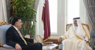 أمير دولة قطر (يمين) ورئيس المجلس الرئاسي في ليبيا