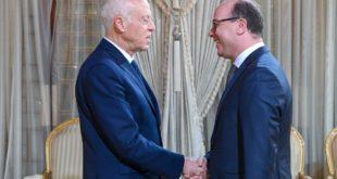 رئيس الحكومة التونسية المُكلّف إلياس الفخفاخ مع الرئيس التونسي قيس سعيّد
