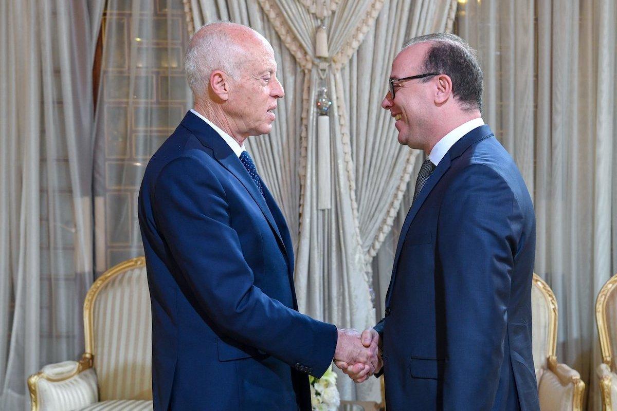 رئيس الحكومة التونسية إلياس الفخفاخ مع الرئيس التونسي قيس سعيّد