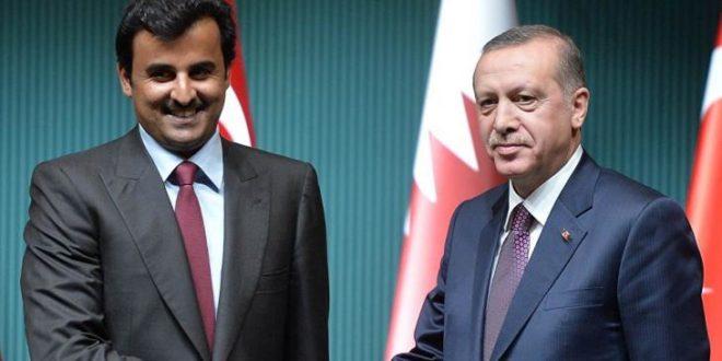 الرئيسان التركي رجب طيب أردوغان (يمين) والقطري تميم بن حمد