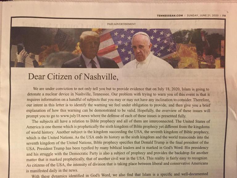 """Photo of """"الإسلام سيفجر ناشفيل"""" هكذا عنونت صحيفة أمريكية واعتذرت"""