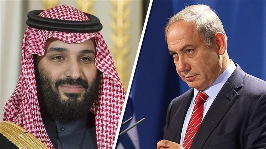 رئيس الحكومة الإسرائيلية بنيامين نتنياهو (يمين) وولي العهد السعودي محمد بن سلمان