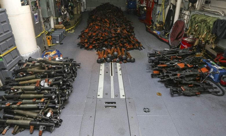 أسلحة إيرانية صادرتها البحرية الأمريكية