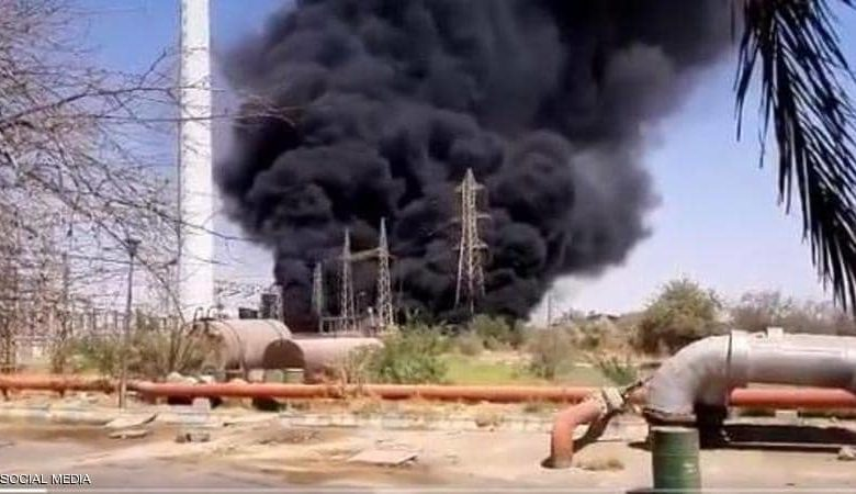 جانب من حريق محطة طاقة إيرانية في الأحواز
