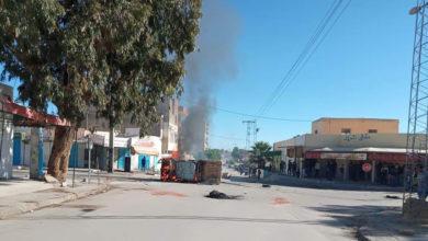 جانب من مخلفات الاشتباكات بمدينة سبيطلة في تونس