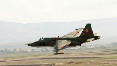 مقاتلة من طراز Su-25 تابعة لأرمينيا كالتي أعلنت أذربيجان إسقاطها